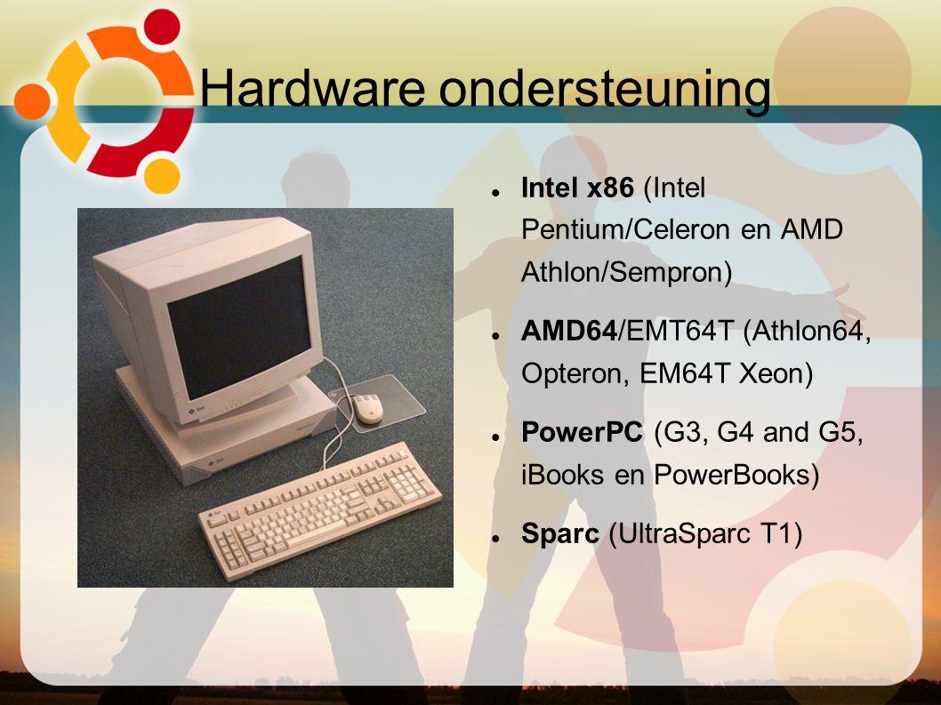Hardware ondersteuning Intel x86 (Intel Pentium/Celeron en AMD Athlon/Sempron) AMD64/EMT64T (Athlon64, Opteron, EM64T Xeon) PowerPC (G3, G4 and G5,