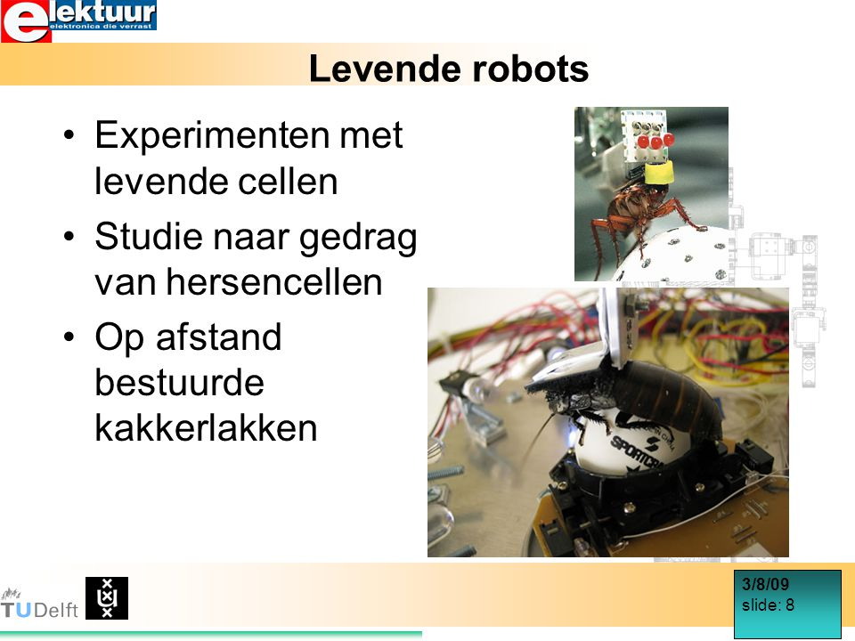3/8/09 slide: 8 Levende robots Experimenten met levende cellen Studie naar gedrag van hersencellen Op afstand bestuurde kakkerlakken