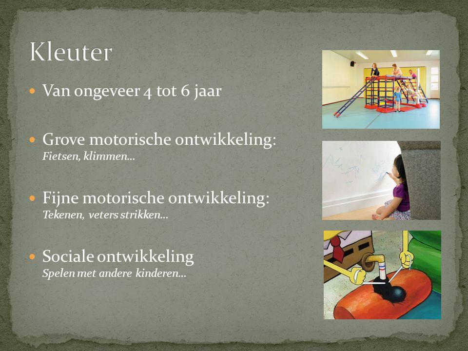 Van ongeveer 4 tot 6 jaar Grove motorische ontwikkeling: Fietsen, klimmen… Fijne motorische ontwikkeling: Tekenen, veters strikken… Sociale ontwikkeling Spelen met andere kinderen…