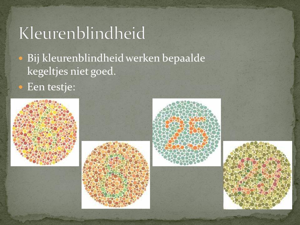 Bij kleurenblindheid werken bepaalde kegeltjes niet goed. Een testje: