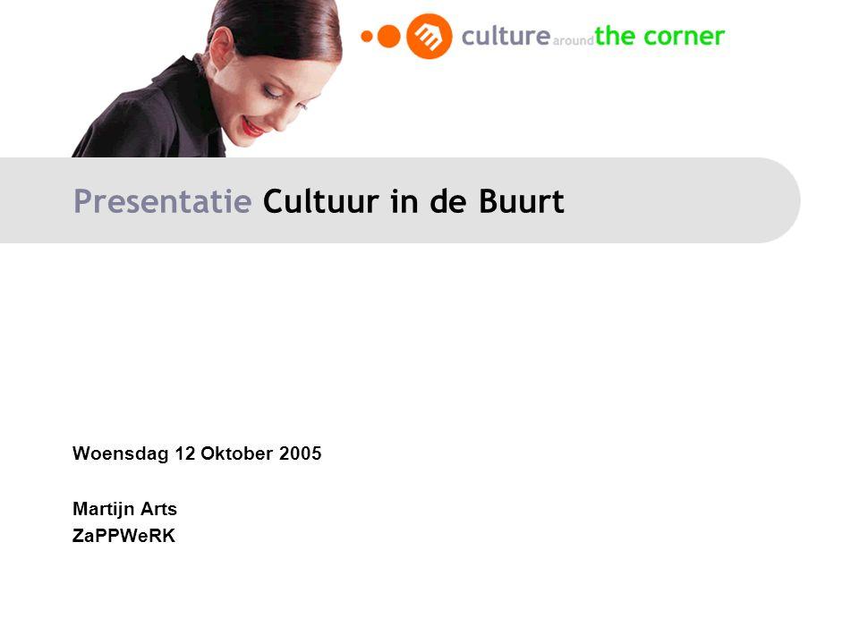 Presentatie Cultuur in de Buurt Woensdag 12 Oktober 2005 Martijn Arts ZaPPWeRK