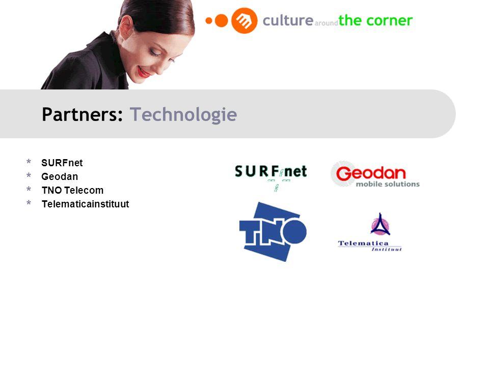 Partners: Technologie SURFnet Geodan TNO Telecom Telematicainstituut