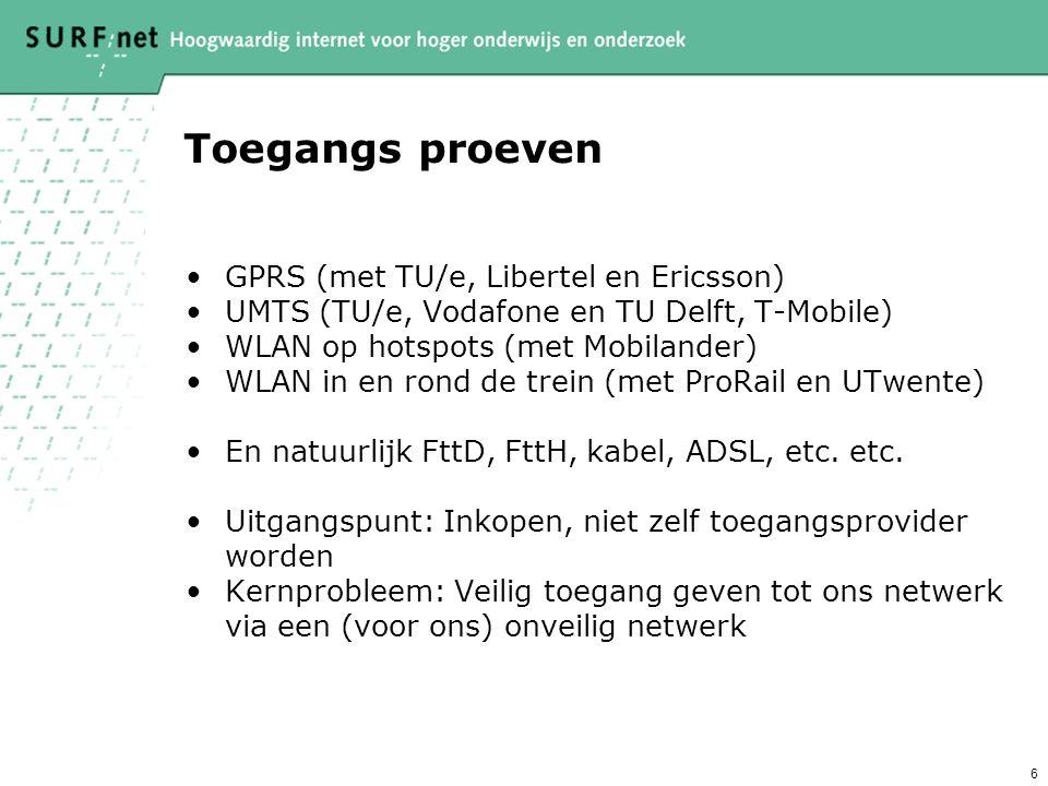 6 Toegangs proeven GPRS (met TU/e, Libertel en Ericsson) UMTS (TU/e, Vodafone en TU Delft, T-Mobile) WLAN op hotspots (met Mobilander) WLAN in en rond de trein (met ProRail en UTwente) En natuurlijk FttD, FttH, kabel, ADSL, etc.