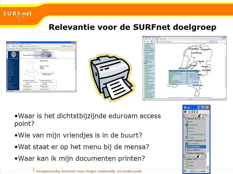 Hoogwaardig internet voor hoger onderwijs en onderzoek Relevantie voor de SURFnet doelgroep Waar is het dichtstbijzijnde eduroam access point? Wie van