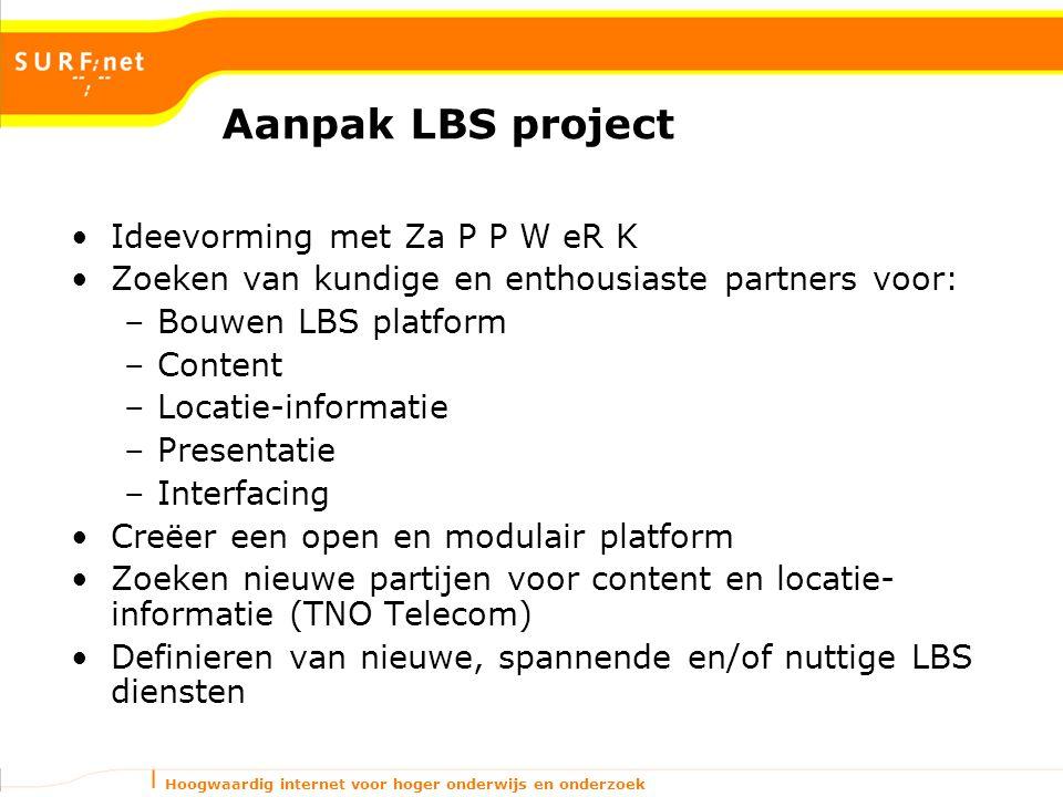 Hoogwaardig internet voor hoger onderwijs en onderzoek Aanpak LBS project Ideevorming met Za P P W eR K Zoeken van kundige en enthousiaste partners vo