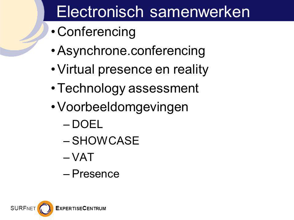 SURF NET E XPERTISE C ENTRUM Electronisch samenwerken Conferencing Asynchrone.conferencing Virtual presence en reality Technology assessment Voorbeeldomgevingen –DOEL –SHOWCASE –VAT –Presence
