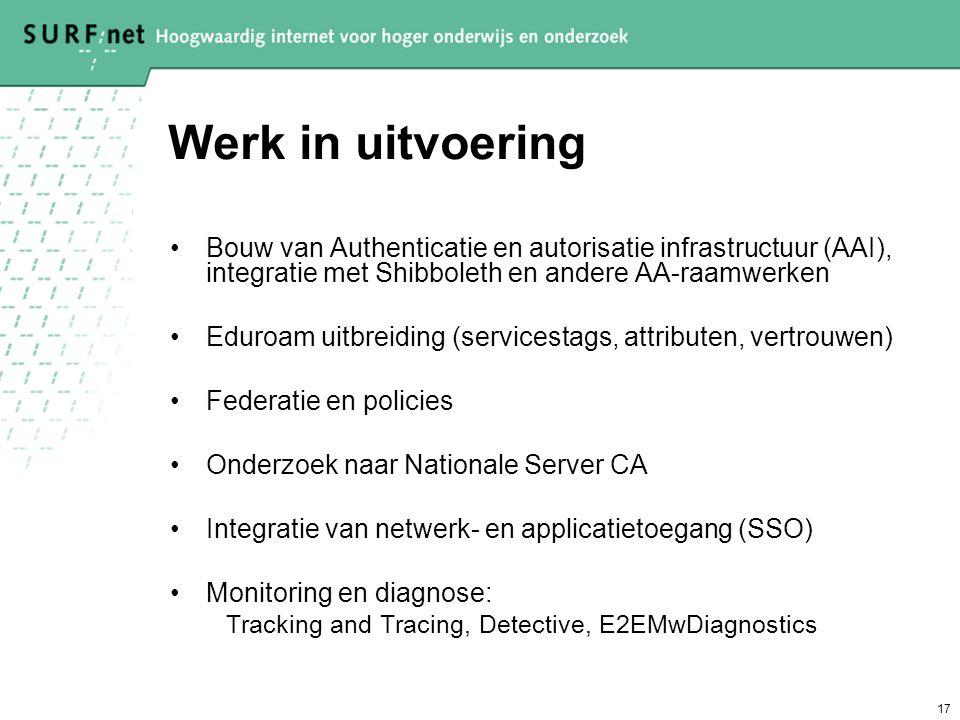 17 Werk in uitvoering Bouw van Authenticatie en autorisatie infrastructuur (AAI), integratie met Shibboleth en andere AA-raamwerken Eduroam uitbreidin