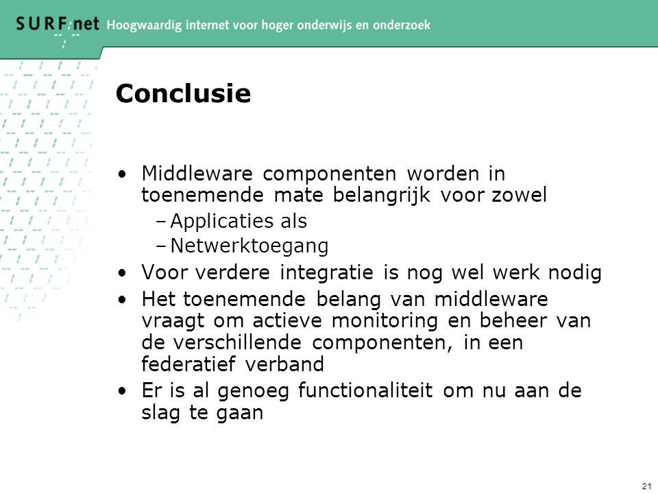 21 Conclusie Middleware componenten worden in toenemende mate belangrijk voor zowel –Applicaties als –Netwerktoegang Voor verdere integratie is nog we