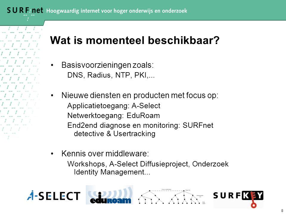 8 Wat is momenteel beschikbaar? Basisvoorzieningen zoals: DNS, Radius, NTP, PKI,... Nieuwe diensten en producten met focus op: Applicatietoegang: A-Se