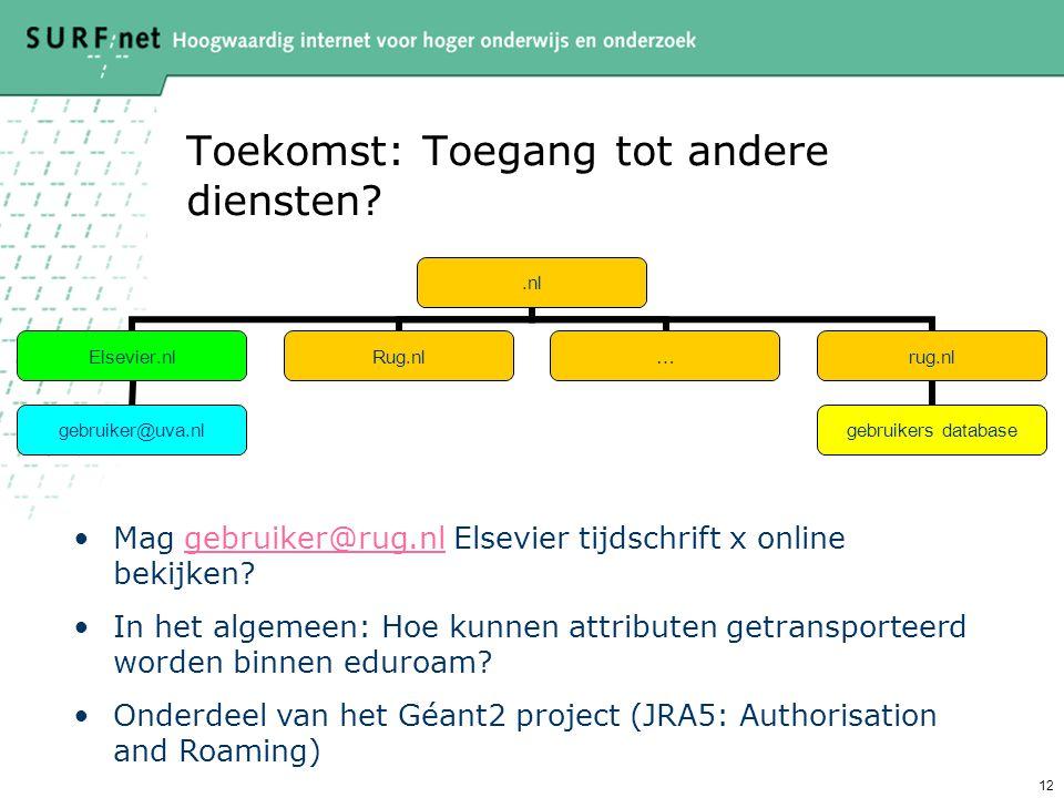 12 Toekomst: Toegang tot andere diensten .nl Elsevier.nl gebruiker@uva.nl Rug.nl…rug.nl gebruikers database Mag gebruiker@rug.nl Elsevier tijdschrift x online bekijken gebruiker@rug.nl In het algemeen: Hoe kunnen attributen getransporteerd worden binnen eduroam.