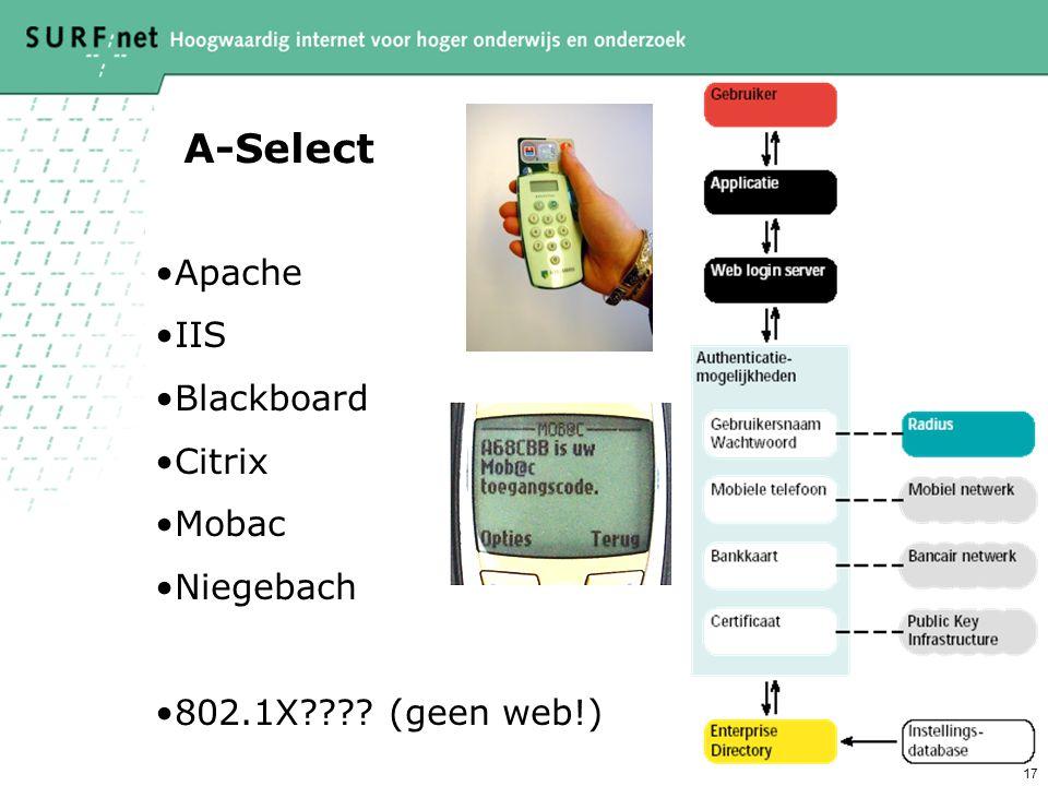17 A-Select Apache IIS Blackboard Citrix Mobac Niegebach 802.1X???? (geen web!)