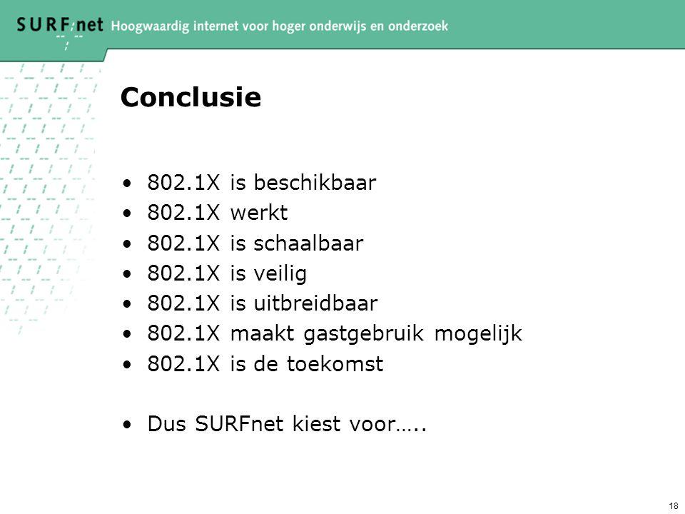 18 Conclusie 802.1X is beschikbaar 802.1X werkt 802.1X is schaalbaar 802.1X is veilig 802.1X is uitbreidbaar 802.1X maakt gastgebruik mogelijk 802.1X is de toekomst Dus SURFnet kiest voor…..