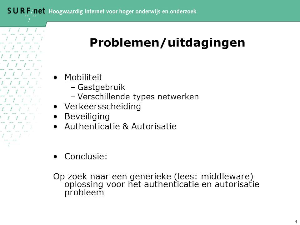 4 Problemen/uitdagingen Mobiliteit –Gastgebruik –Verschillende types netwerken Verkeersscheiding Beveiliging Authenticatie & Autorisatie Conclusie: Op zoek naar een generieke (lees: middleware) oplossing voor het authenticatie en autorisatie probleem