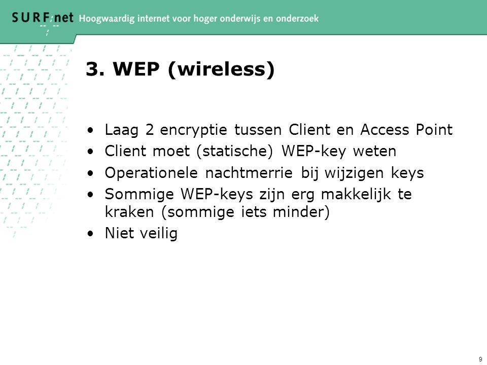 9 3. WEP (wireless) Laag 2 encryptie tussen Client en Access Point Client moet (statische) WEP-key weten Operationele nachtmerrie bij wijzigen keys So