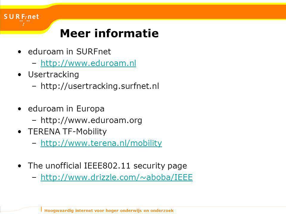 Hoogwaardig internet voor hoger onderwijs en onderzoek Meer informatie eduroam in SURFnet –http://www.eduroam.nlhttp://www.eduroam.nl Usertracking –http://usertracking.surfnet.nl eduroam in Europa –http://www.eduroam.org TERENA TF-Mobility –http://www.terena.nl/mobilityhttp://www.terena.nl/mobility The unofficial IEEE802.11 security page –http://www.drizzle.com/~aboba/IEEEhttp://www.drizzle.com/~aboba/IEEE