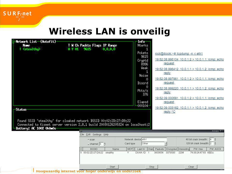 Hoogwaardig internet voor hoger onderwijs en onderzoek Wireless LAN is onveilig root@ibook:~# tcpdump -n -i eth1 19:52:08.995104 10.0.1.2 > 10.0.1.1: icmp: echo request 19:52:08.996412 10.0.1.1 > 10.0.1.2: icmp: echo reply 19:52:08.997961 10.0.1.2 > 10.0.1.1: icmp: echo request 19:52:08.999220 10.0.1.1 > 10.0.1.2: icmp: echo reply 19:52:09.000581 10.0.1.2 > 10.0.1.1: icmp: echo request 19:52:09.003162 10.0.1.1 > 10.0.1.2: icmp: echo reply ^C