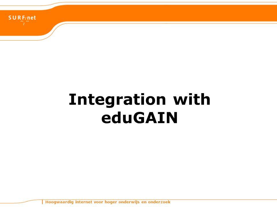 Hoogwaardig internet voor hoger onderwijs en onderzoek Integration with eduGAIN
