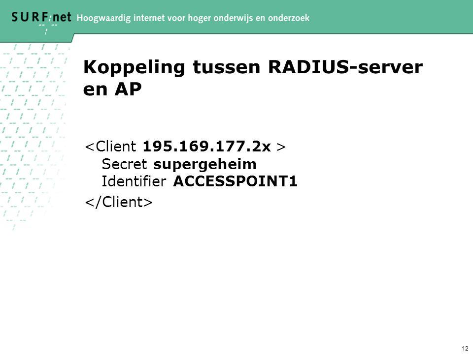 12 Koppeling tussen RADIUS-server en AP Secret supergeheim Identifier ACCESSPOINT1