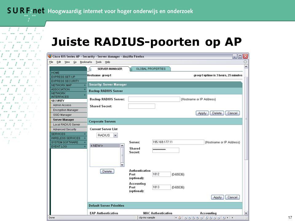 17 Juiste RADIUS-poorten op AP