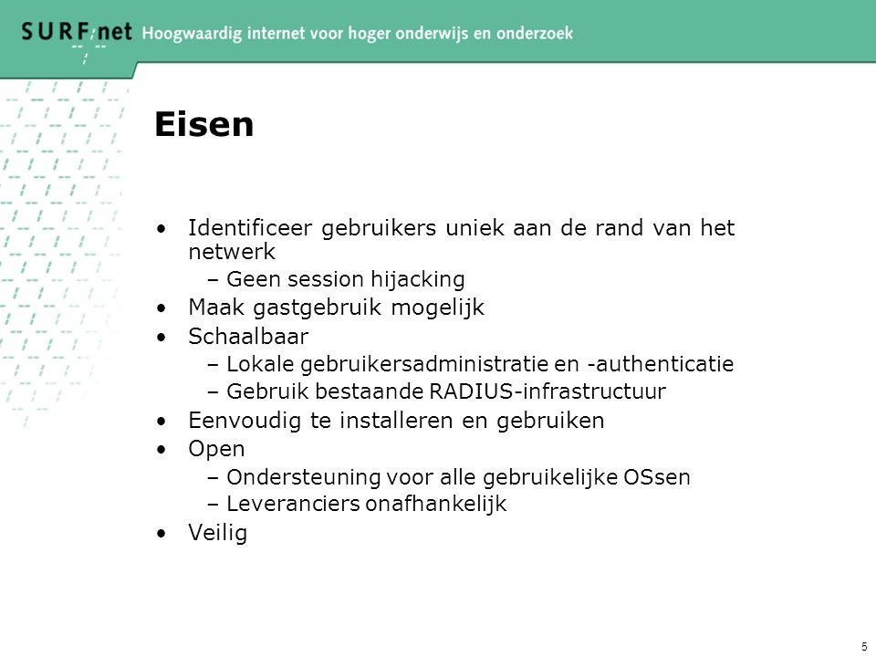 5 Eisen Identificeer gebruikers uniek aan de rand van het netwerk –Geen session hijacking Maak gastgebruik mogelijk Schaalbaar –Lokale gebruikersadmin