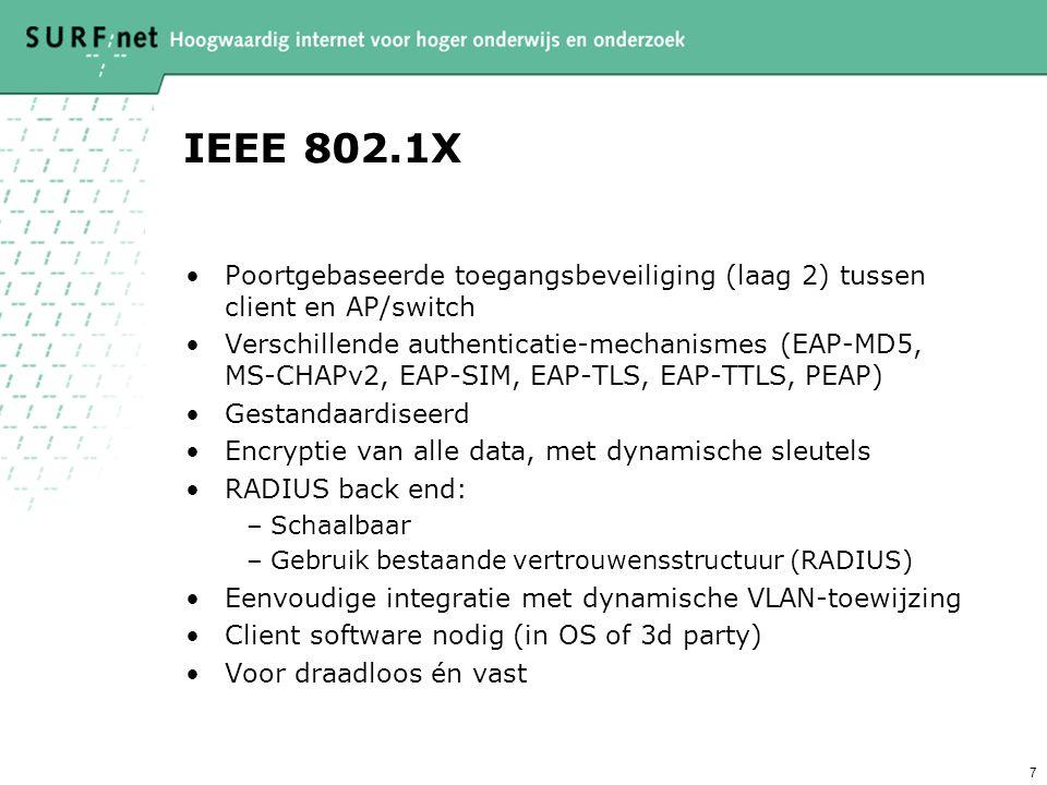 7 IEEE 802.1X Poortgebaseerde toegangsbeveiliging (laag 2) tussen client en AP/switch Verschillende authenticatie-mechanismes (EAP-MD5, MS-CHAPv2, EAP-SIM, EAP-TLS, EAP-TTLS, PEAP) Gestandaardiseerd Encryptie van alle data, met dynamische sleutels RADIUS back end: –Schaalbaar –Gebruik bestaande vertrouwensstructuur (RADIUS) Eenvoudige integratie met dynamische VLAN-toewijzing Client software nodig (in OS of 3d party) Voor draadloos én vast