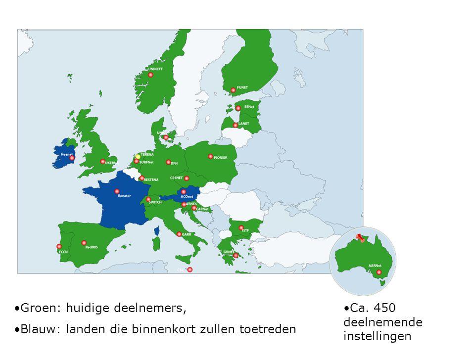 Groen: huidige deelnemers, Blauw: landen die binnenkort zullen toetreden Ca.