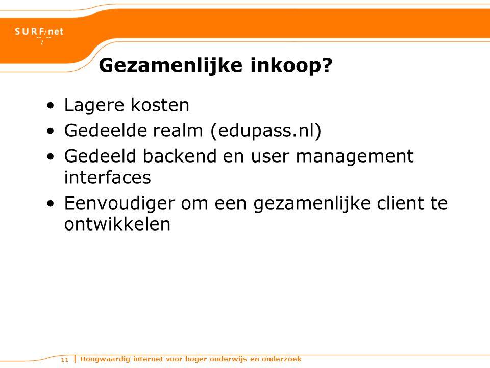 Hoogwaardig internet voor hoger onderwijs en onderzoek 11 Gezamenlijke inkoop? Lagere kosten Gedeelde realm (edupass.nl) Gedeeld backend en user manag