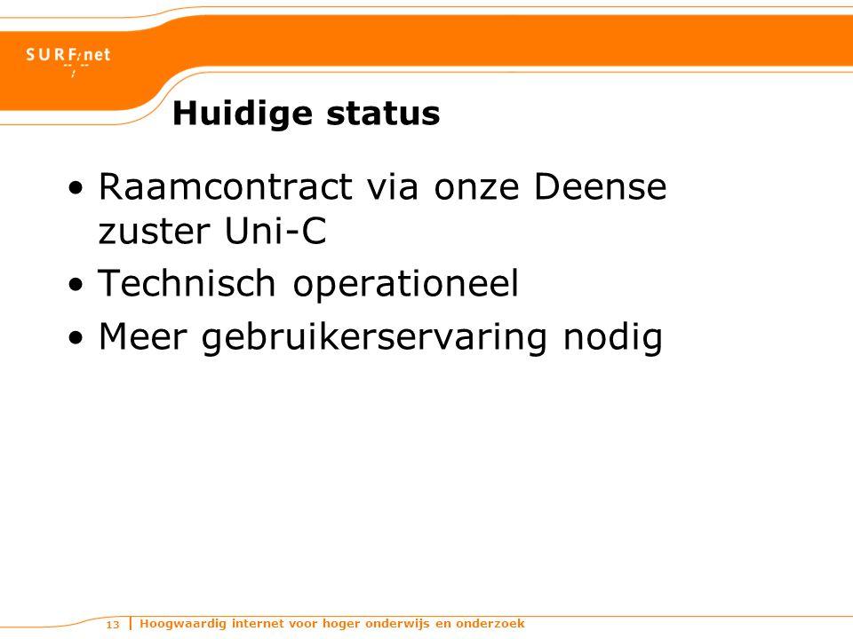 Hoogwaardig internet voor hoger onderwijs en onderzoek 13 Huidige status Raamcontract via onze Deense zuster Uni-C Technisch operationeel Meer gebruikerservaring nodig