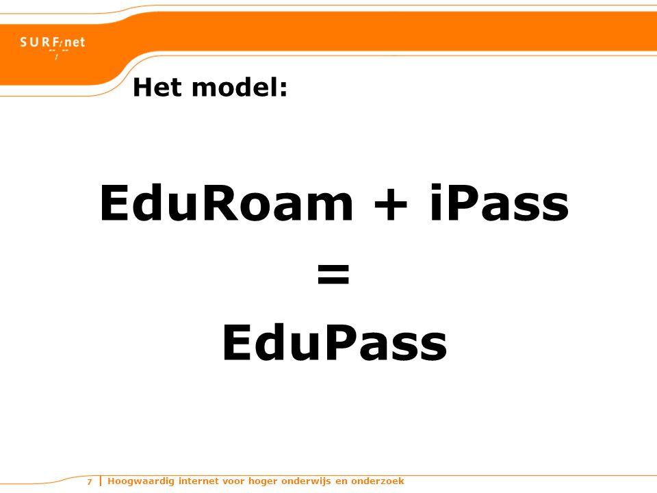 Hoogwaardig internet voor hoger onderwijs en onderzoek 7 Het model: EduRoam + iPass = EduPass