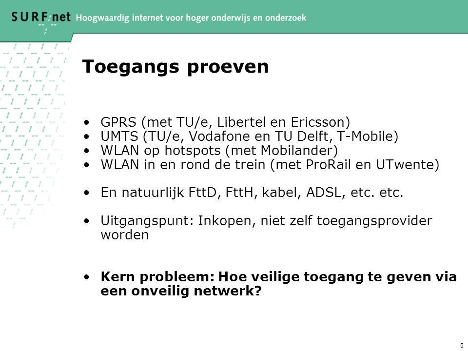 5 Toegangs proeven GPRS (met TU/e, Libertel en Ericsson) UMTS (TU/e, Vodafone en TU Delft, T-Mobile) WLAN op hotspots (met Mobilander) WLAN in en rond de trein (met ProRail en UTwente) En natuurlijk FttD, FttH, kabel, ADSL, etc.