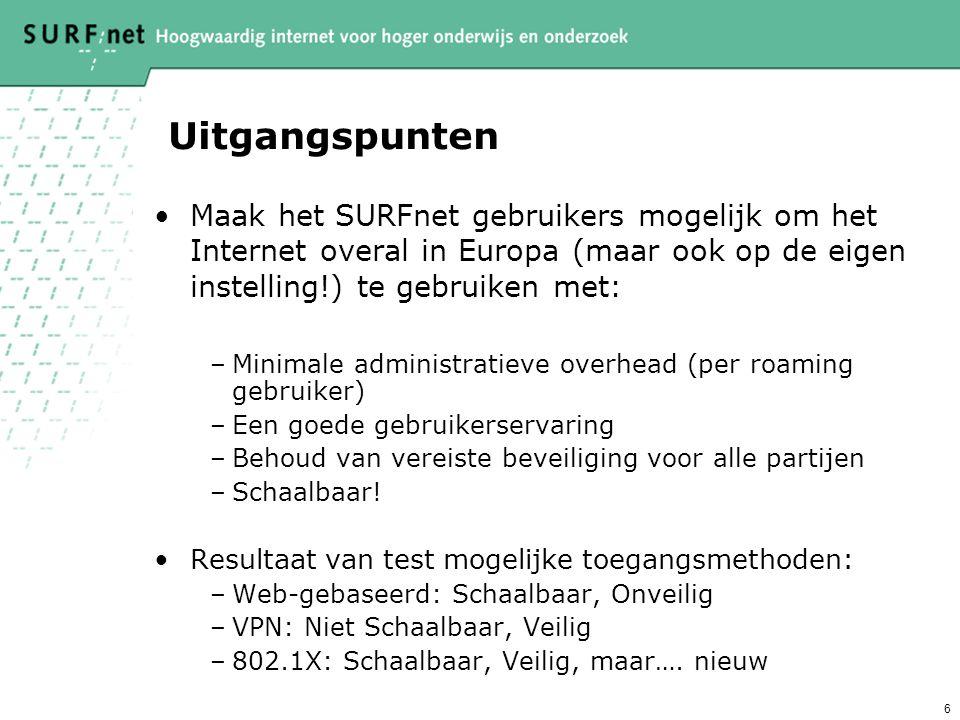 6 Uitgangspunten Maak het SURFnet gebruikers mogelijk om het Internet overal in Europa (maar ook op de eigen instelling!) te gebruiken met: –Minimale administratieve overhead (per roaming gebruiker) –Een goede gebruikerservaring –Behoud van vereiste beveiliging voor alle partijen –Schaalbaar.