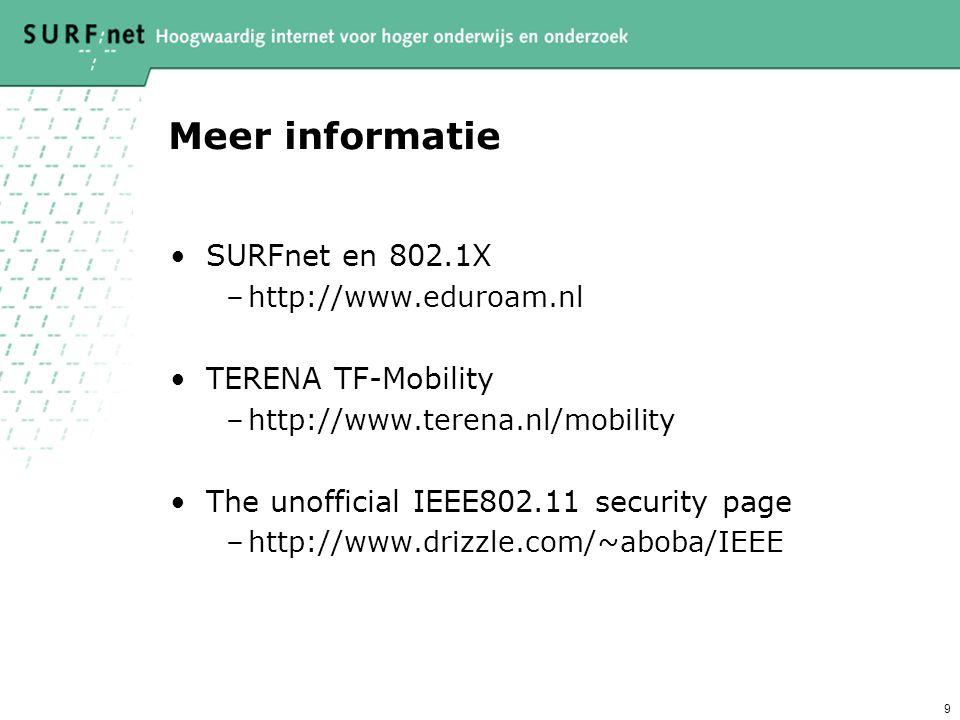 9 Meer informatie SURFnet en 802.1X –http://www.eduroam.nl TERENA TF-Mobility –http://www.terena.nl/mobility The unofficial IEEE802.11 security page –http://www.drizzle.com/~aboba/IEEE