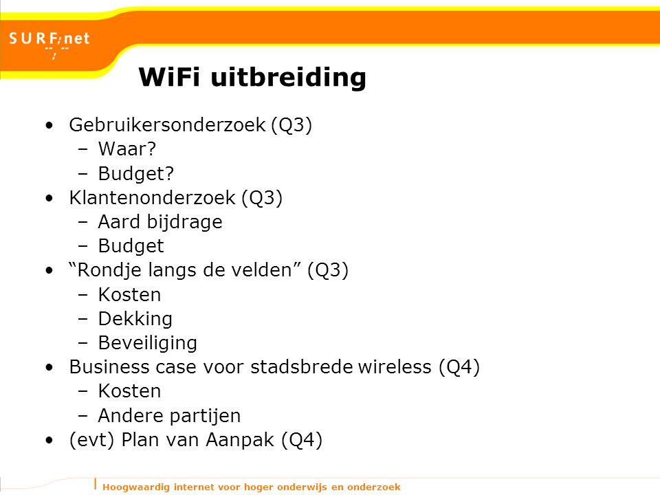 Hoogwaardig internet voor hoger onderwijs en onderzoek WiFi uitbreiding Gebruikersonderzoek (Q3) –Waar.