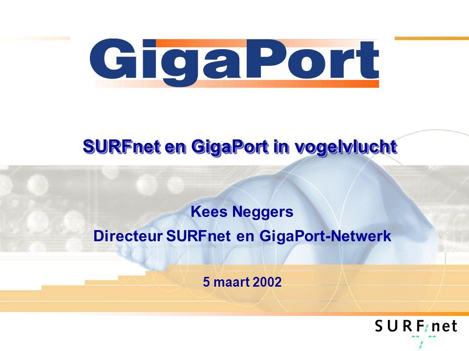 SURFnet en GigaPort in vogelvlucht Kees Neggers Directeur SURFnet en GigaPort-Netwerk 5 maart 2002