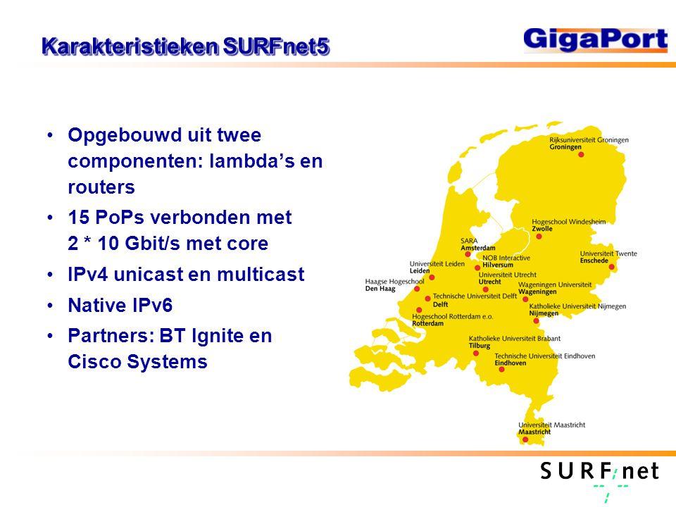 Karakteristieken SURFnet5 Opgebouwd uit twee componenten: lambda's en routers 15 PoPs verbonden met 2 * 10 Gbit/s met core IPv4 unicast en multicast Native IPv6 Partners: BT Ignite en Cisco Systems