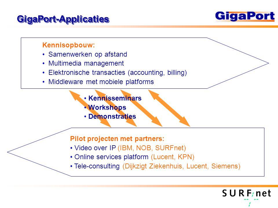 Positionering GigaPort2 Applicaties Netwerken Transport Infrastructuur voor telecom ResearchPilotsMarkt GigaPort2 Netwerk GigaPort2 Applicaties Middleware