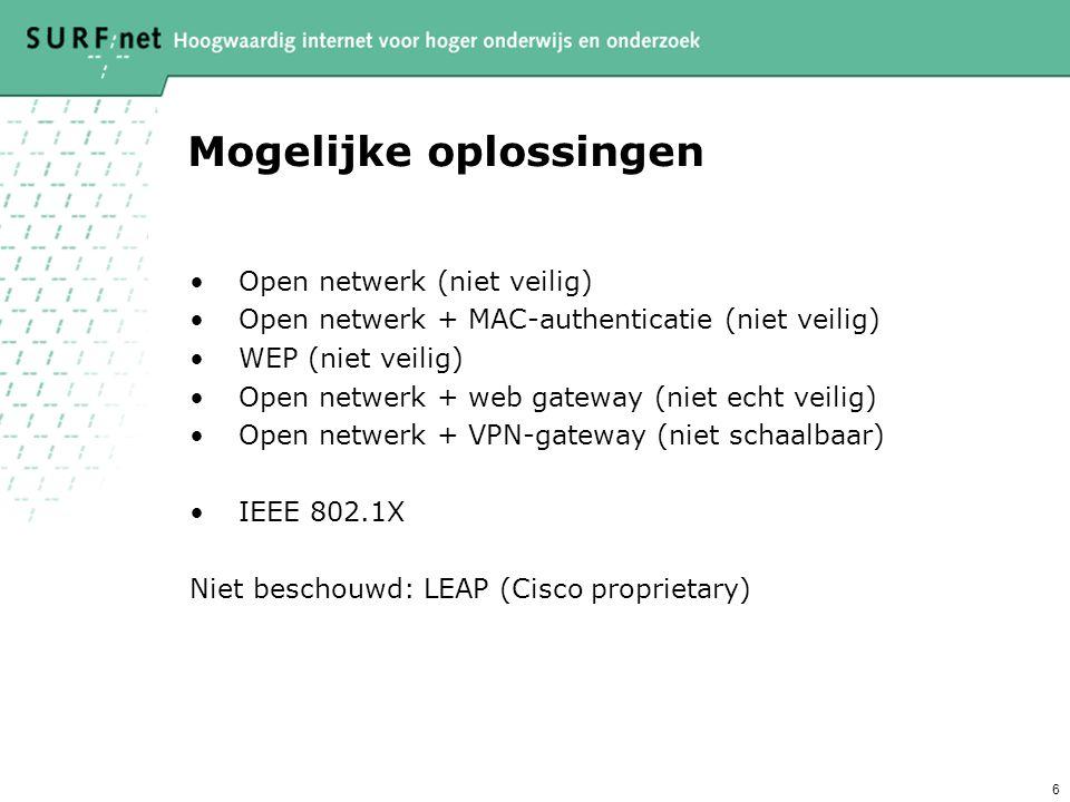 6 Mogelijke oplossingen Open netwerk (niet veilig) Open netwerk + MAC-authenticatie (niet veilig) WEP (niet veilig) Open netwerk + web gateway (niet echt veilig) Open netwerk + VPN-gateway (niet schaalbaar) IEEE 802.1X Niet beschouwd: LEAP (Cisco proprietary)