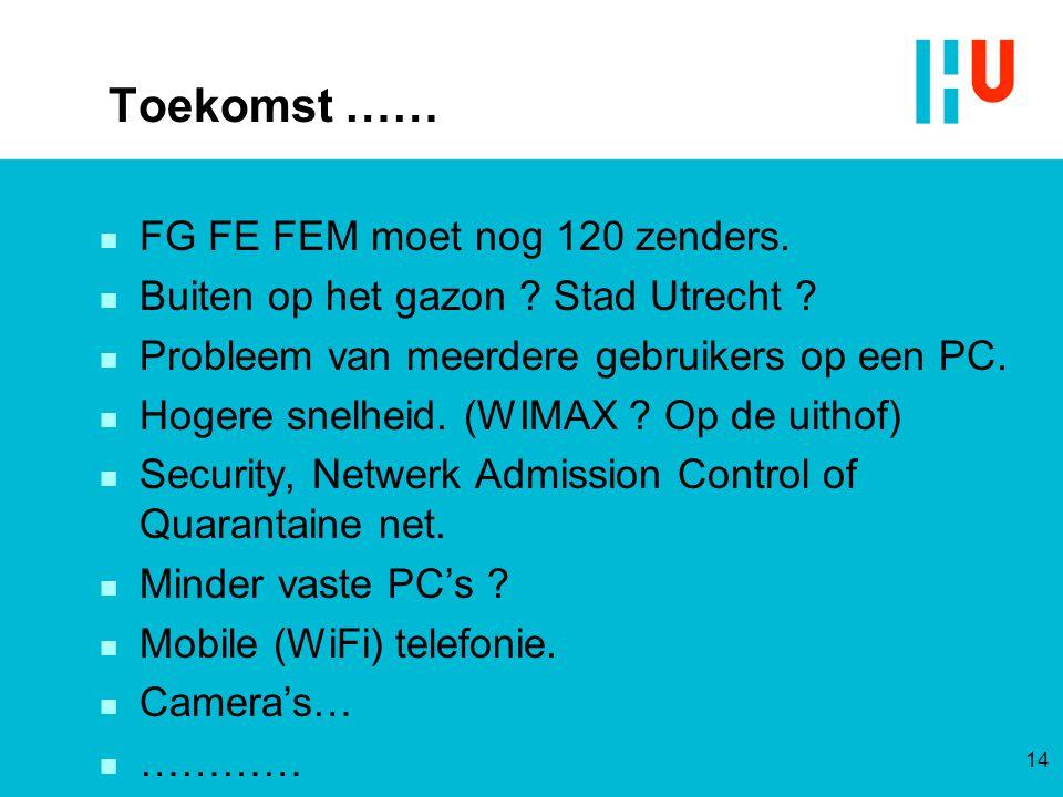 Toekomst …… n FG FE FEM moet nog 120 zenders. n Buiten op het gazon ? Stad Utrecht ? n Probleem van meerdere gebruikers op een PC. n Hogere snelheid.