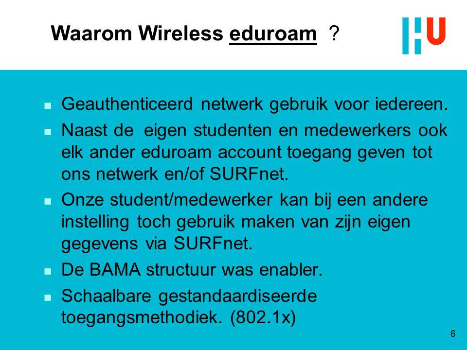 Waarom Wireless eduroam ? n Geauthenticeerd netwerk gebruik voor iedereen. n Naast de eigen studenten en medewerkers ook elk ander eduroam account toe