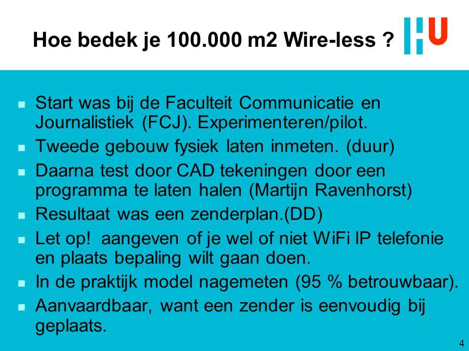 Hoe bedek je 100.000 m2 Wire-less ? 4 n Start was bij de Faculteit Communicatie en Journalistiek (FCJ). Experimenteren/pilot. n Tweede gebouw fysiek l