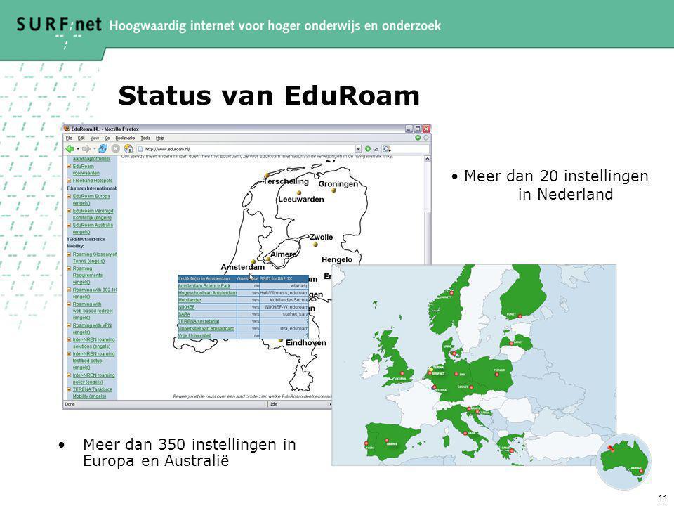 11 Status van EduRoam Meer dan 350 instellingen in Europa en Australië Meer dan 20 instellingen in Nederland