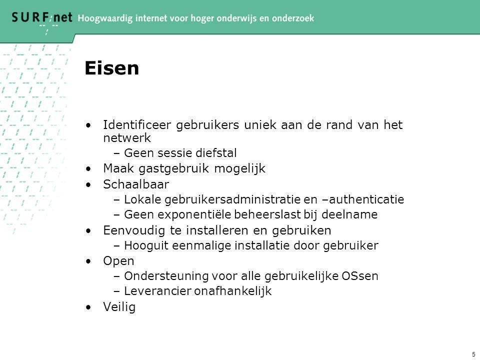 5 Eisen Identificeer gebruikers uniek aan de rand van het netwerk –Geen sessie diefstal Maak gastgebruik mogelijk Schaalbaar –Lokale gebruikersadminis