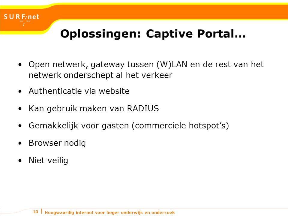 Hoogwaardig internet voor hoger onderwijs en onderzoek 10 Oplossingen: Captive Portal… Open netwerk, gateway tussen (W)LAN en de rest van het netwerk