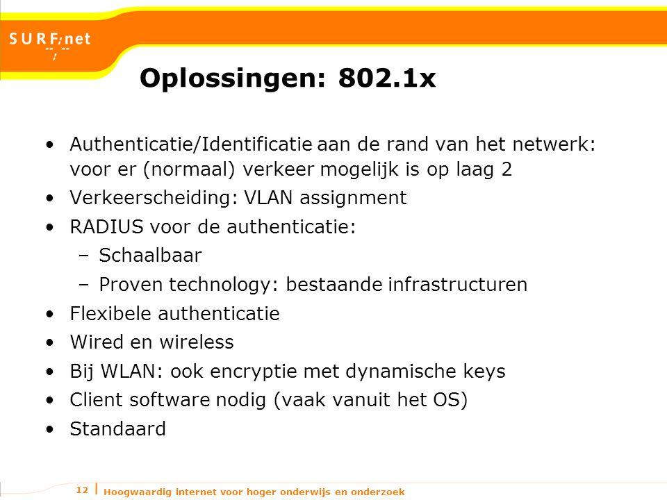 Hoogwaardig internet voor hoger onderwijs en onderzoek 12 Oplossingen: 802.1x Authenticatie/Identificatie aan de rand van het netwerk: voor er (normaal) verkeer mogelijk is op laag 2 Verkeerscheiding: VLAN assignment RADIUS voor de authenticatie: –Schaalbaar –Proven technology: bestaande infrastructuren Flexibele authenticatie Wired en wireless Bij WLAN: ook encryptie met dynamische keys Client software nodig (vaak vanuit het OS) Standaard