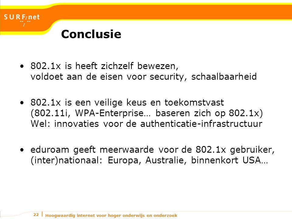 Hoogwaardig internet voor hoger onderwijs en onderzoek 22 Conclusie 802.1x is heeft zichzelf bewezen, voldoet aan de eisen voor security, schaalbaarheid 802.1x is een veilige keus en toekomstvast (802.11i, WPA-Enterprise… baseren zich op 802.1x) Wel: innovaties voor de authenticatie-infrastructuur eduroam geeft meerwaarde voor de 802.1x gebruiker, (inter)nationaal: Europa, Australie, binnenkort USA…