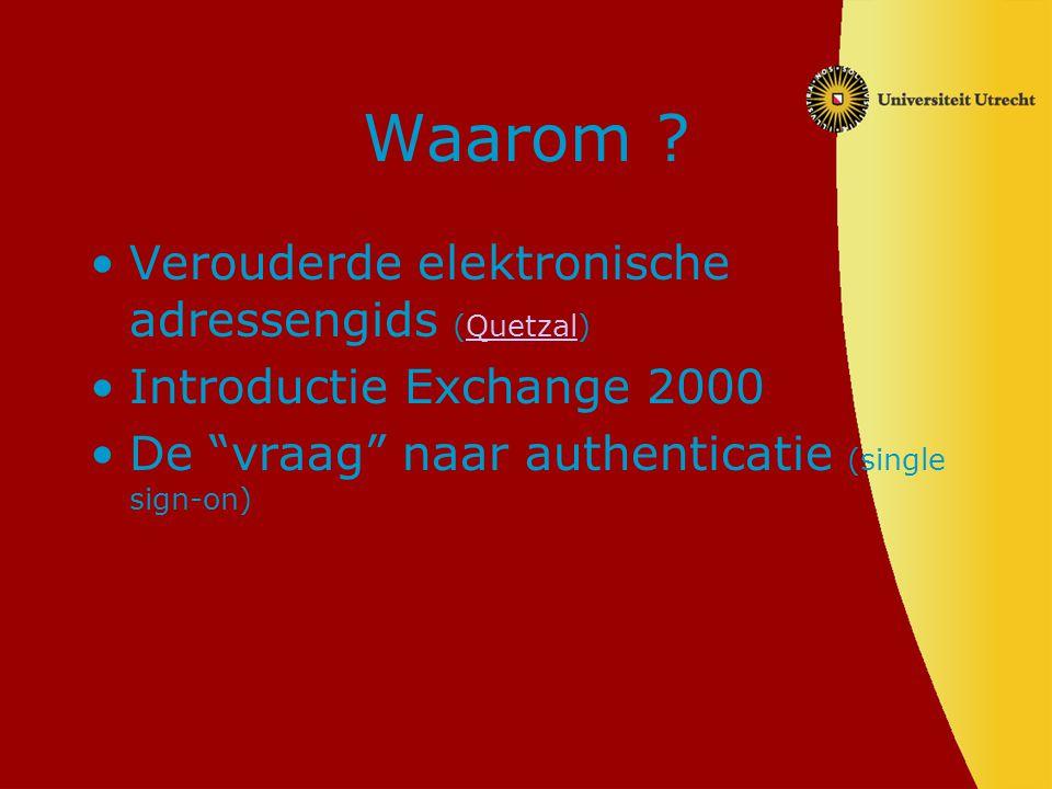 """Waarom ? Verouderde elektronische adressengids (Quetzal)Quetzal Introductie Exchange 2000 De """"vraag"""" naar authenticatie (single sign-on)"""