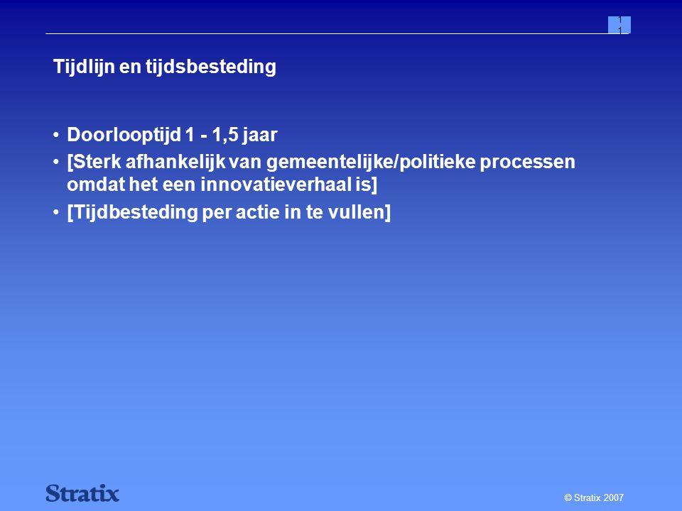 © Stratix 2007 11 Tijdlijn en tijdsbesteding Doorlooptijd 1 - 1,5 jaar [Sterk afhankelijk van gemeentelijke/politieke processen omdat het een innovatieverhaal is] [Tijdbesteding per actie in te vullen]