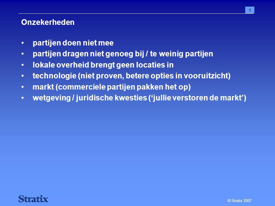 © Stratix 2007 9 Onzekerheden partijen doen niet mee partijen dragen niet genoeg bij / te weinig partijen lokale overheid brengt geen locaties in technologie (niet proven, betere opties in vooruitzicht) markt (commerciele partijen pakken het op) wetgeving / juridische kwesties ('jullie verstoren de markt')