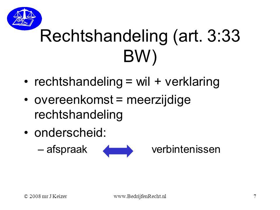 © 2008 mr J Keizerwww.BedrijfenRecht.nl8 Partij APartij B wil verklaring + + = = rechtshandeling overeenkomst
