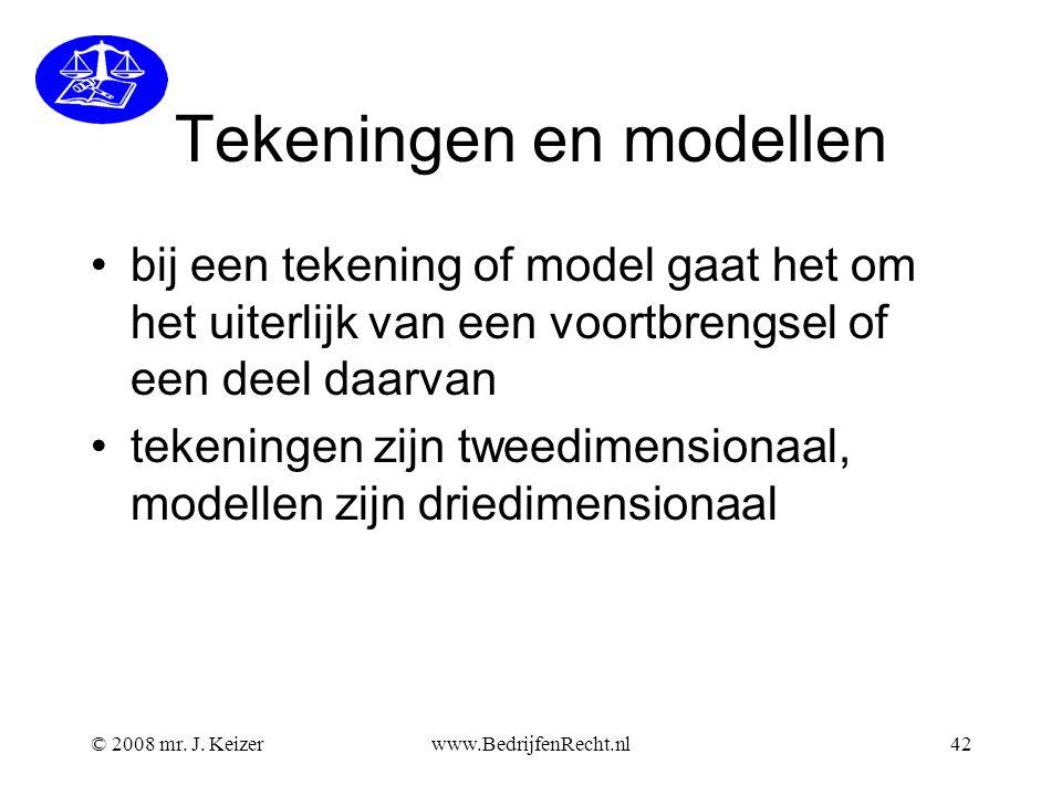 Tekeningen en modellen bij een tekening of model gaat het om het uiterlijk van een voortbrengsel of een deel daarvan tekeningen zijn tweedimensionaal, modellen zijn driedimensionaal © 2008 mr.